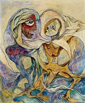 a colored drawing of two faces on top of swirling bodies