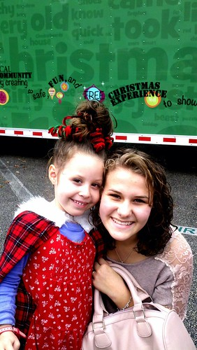 Daisy and our friend Addie at the Christmas Stroll 2011 inside Whoovillage