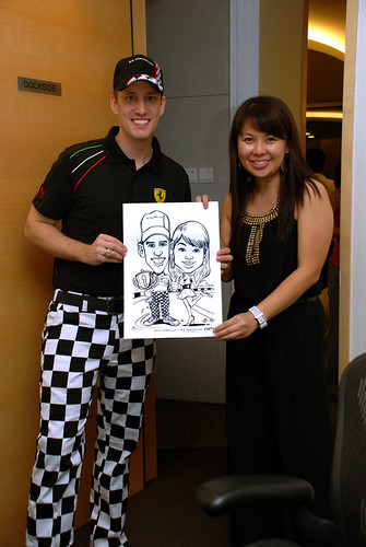 caricature live sketching 2011 Formula 1 RR Donnelley Party - 23