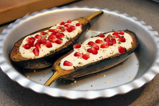 Roast Aubergines with Buttermilk sauce and pomegranate