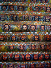 Debre Berhan Selassie Church ever watchful angles on church ceiling, Gondar, Ethiopia