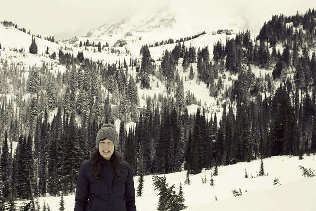 fake smile on mt. rainier
