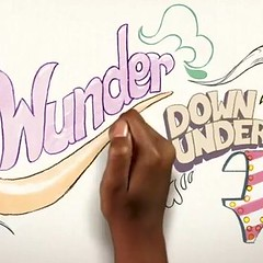 "A still from a Summer's Eve commercial featuring a black fist with the words ""Wunder Down Under"" surrounding it in cartoon letters"