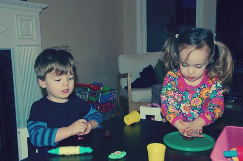 "Making ""cookies"" out of Play-Doh"