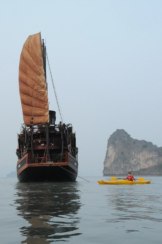 Sam Kayaking on Halong Bay.