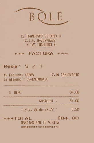 Zaragoza | Restaurante Bole | Ticket