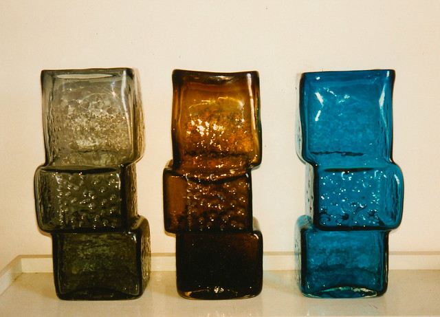 Whitefriars Large 'Drunken Bricklayer' Glass Vases designed by Geoffrey Baxter in 1966 - Note the rare one on the right!