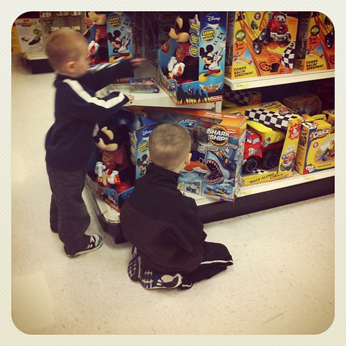 Our weekly visit to a local toy aisle.