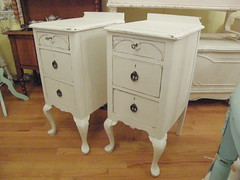 antique shabby chic nightstand pair white distressed