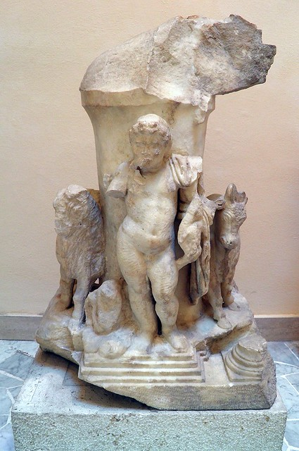 Haltar with Harpocrates and Anubis, from the area of the schola of Trajan, 2nd century AD, Ostia Antica, Italy