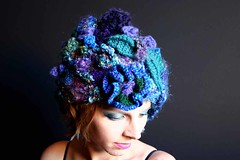 blue freeform crochet hat 2