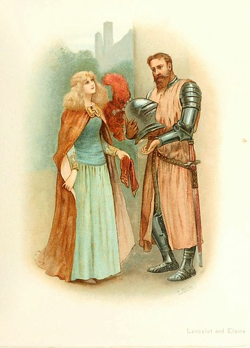 015-Lancelot y Elaine-Tennyson's heroes and heroines. Illustrated by M. Stone and others 19--. Marcus Stone
