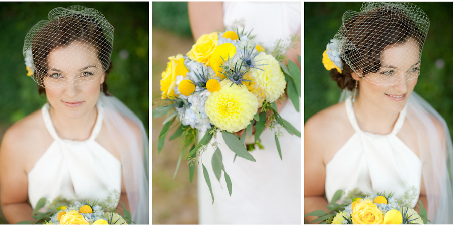 Close-up of bride with birdcage veil and yellow bouquet with eucalyptus
