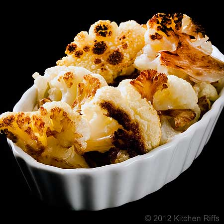 Roast Cauliflower in White Oblong Ramekin, Black Background