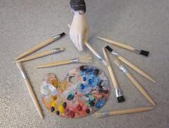 1/6 artist palette & brushes