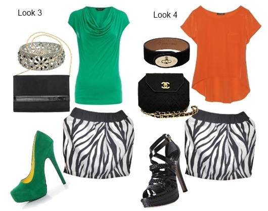 Wear Zebra black and white mini skirt with bright colors