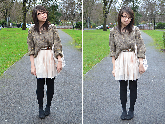 daisybutter - UK Style Blog: university style, what i wore, campus style, boohoo, ever ours, new look, dress and jumper