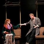 """Annie (Kate Nowlin) meets Billy (William Thompson), a fellow actor in an upcoming play, on a train  in the Huntington Theatre Company's production of """"The Real Thing,"""" part of the 2005-2006 season. Photo by T. Charles Erickson."""