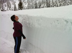 Breanne shows how much snow there is.