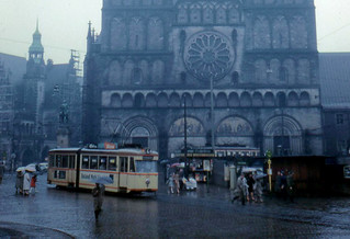Bremen - Cathedral, Streetcar, and Rain