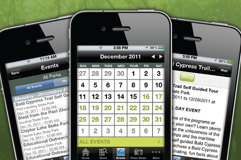Park programs and events can be accessed using the convenient calendar feature