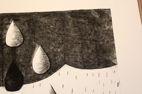 drypoint etching - black detail