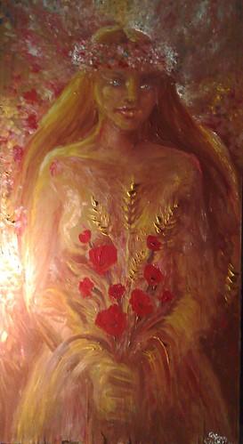 O zeita a primaverii pictura ulei pe lemn - O fecioara frumoasa ca o primavara