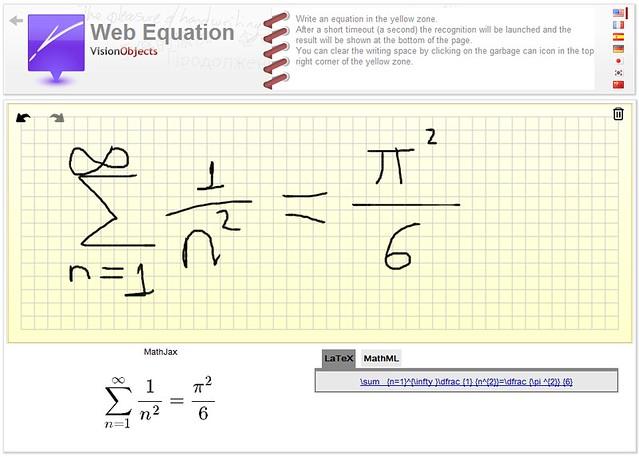 Web Equation, de mano alzada a código LaTeX