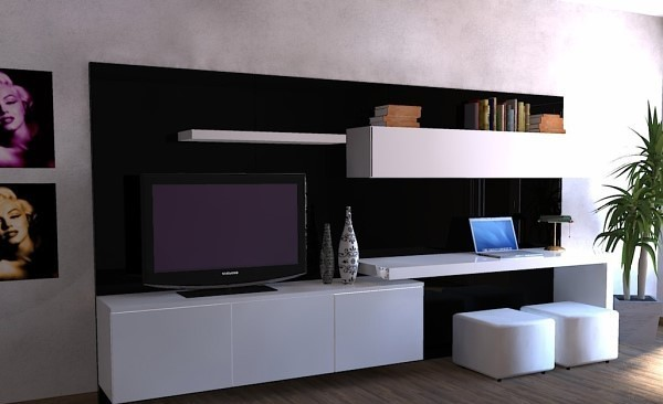 Modular lcd rack panel tv moderno living progetto mobili for Racks y modulares para living