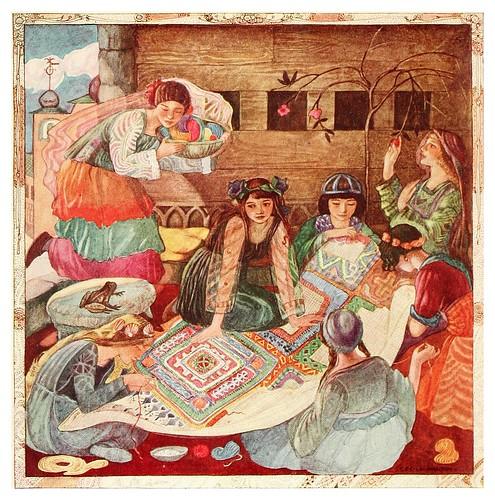 001-Las jovenes hadas cosen la alfombra-Polish fairy tales 1920-Cecile Walton