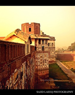 The wall of Lahore fort showing the depth of Mughal Architecture