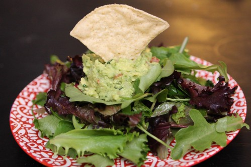 Lime Cilantro Salad with Guacamole and Tortilla Chips