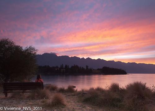 newzealand lake selfportrait mountains sunrise bench rocks queenstown pure remarkables lakewakatipu enjoyingtheview