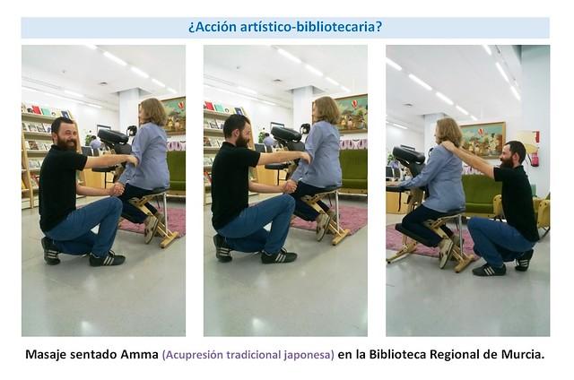 accion-artistico-bibliotecaria-masaje-sentado