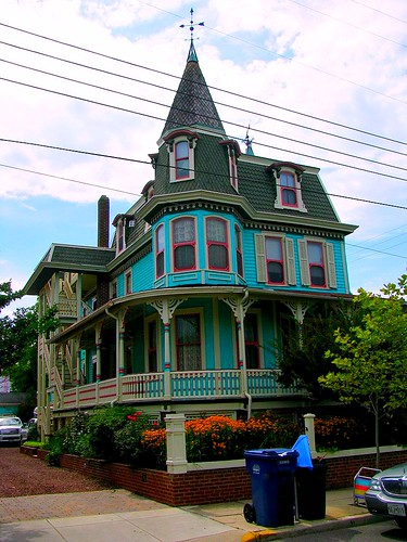 Aqua Colored Victorian House in Cape May, NJ by Bogdan Migulski