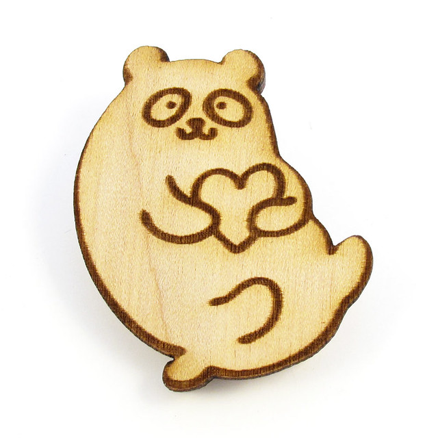 Panda Heart Wood Pin 1