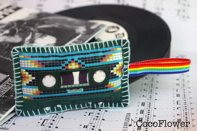 Porte clés cassette en tissu motif indien navajo par CocoFlower