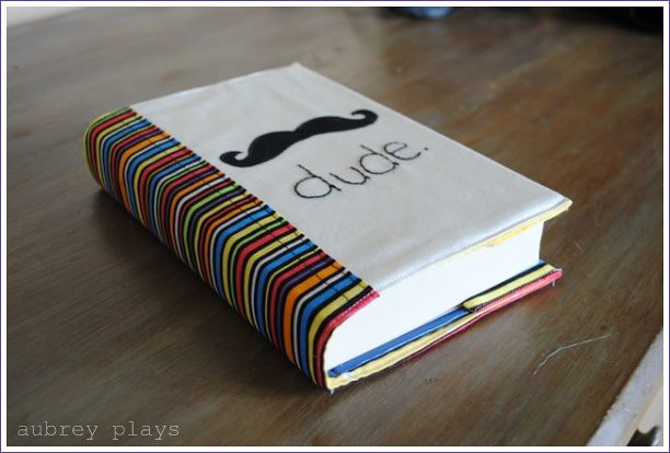 Mustache. Covered Notebook or custom book cover. Dude.