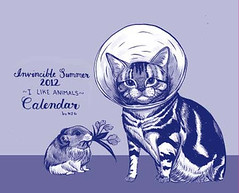 This image shows the I Like Animals Calendar, which has a light purple background, dark purple text, and dark purple and white drawings of animals. On the right there is a cat wearing a cone on its head. Standing to the left of the cat is a small