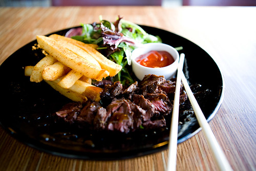 hanger steak with thick sumac dusted fries by TAKE A BAO