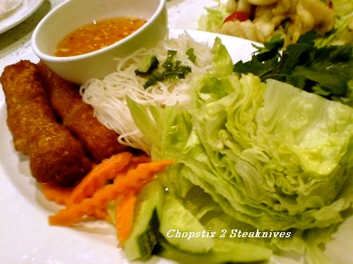 Chargrilled mince pork with rice paper and salad