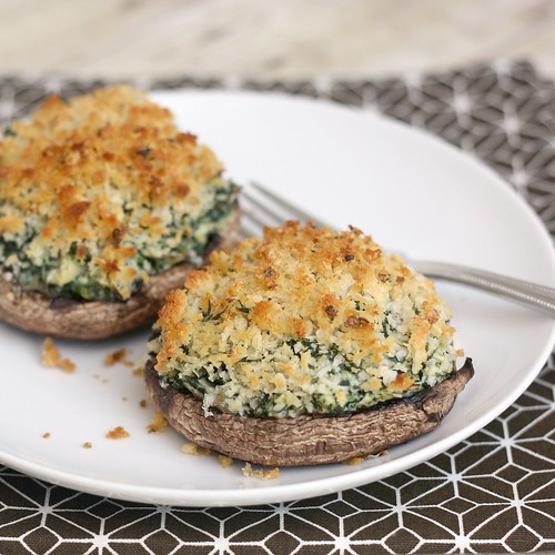 Portabello Mushrooms with Creamy Spinach-Artichoke Filling | Tracey's ...