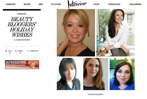 Interview Magazine : Beauty Bloggers