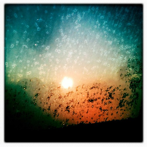Sunrise through icy windows