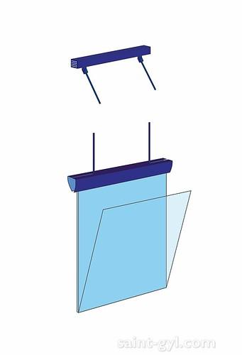 porte-affiche extra-plat lumineux suspendu par tubes sch 004