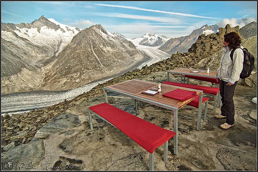 Suiza - Las montañas - Glaciar Alestch desde el refugio del Eggishorn