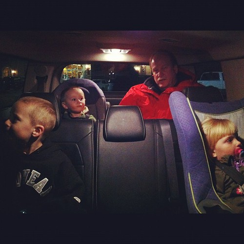 Last night, grandpa had to ride in the back of the truckster w the little squirts.