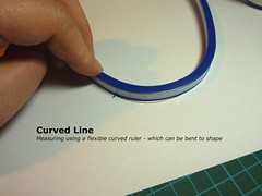 Measuring using a flexible curved ruler