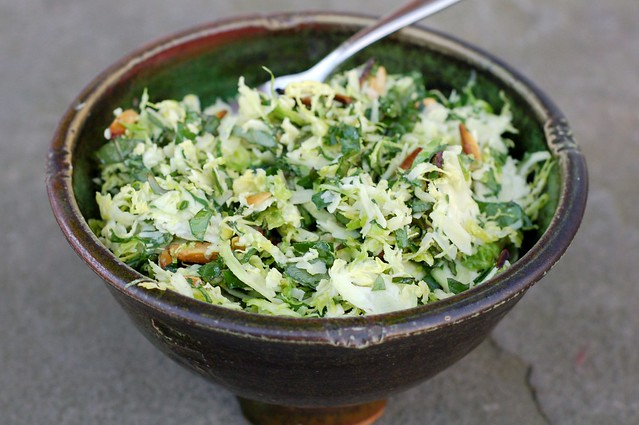 Kale & Brussels Sprout Salad With Toasted Almonds & Pecorino by Eve Fox, Garden of Eating blog, copyright 2011