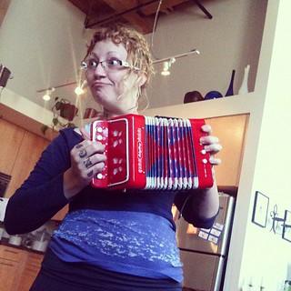 I finally got my accordion!!! Pepper got a tambourine and xylophone so we are hitting the road.
